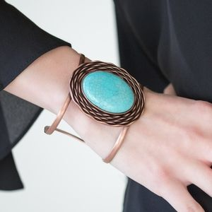 """One For The Rodeo""- Turquoise Copper Cuff"